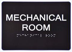 Mechanical Room Sign- BLACK- BRAILLE (ALUMINUM SIGNS 5X7)- The Sensation Line