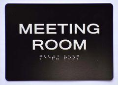 MEETING ROOM Sign- BLACK- BRAILLE (ALUMINUM SIGNS 5X7)- The Sensation Line