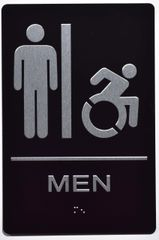 MEN ACCESSIBLE RESTROOM SIGN- BLACK- BRAILLE (ALUMINUM SIGNS 9X6)- The Sensation Line