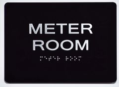 Meter Room SIGN- BLACK- BRAILLE (ALUMINUM SIGNS 5X7)- The Sensation Line