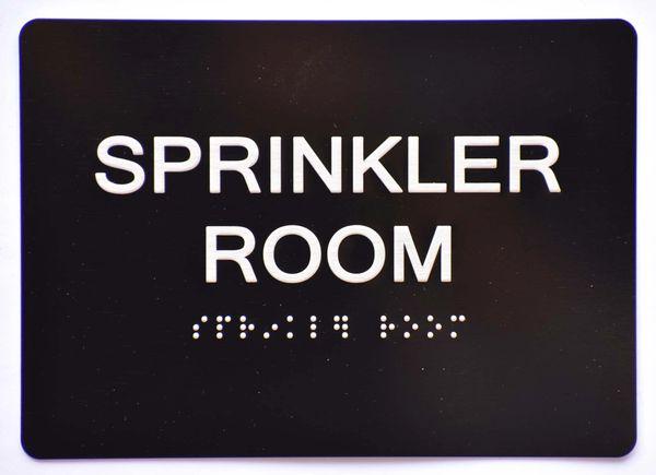 Sprinkler Room SIGN- BLACK- BRAILLE (ALUMINUM SIGNS 5X7)- The Sensation Line