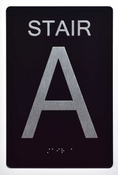 STAIR A SIGN- BLACK- BRAILLE (ALUMINUM SIGNS 9X6)- The Sensation Line