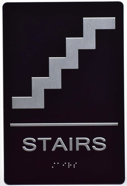 STAIRS SIGN- BLACK- BRAILLE (ALUMINUM SIGNS 9X6)- The Sensation Line