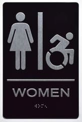 WOMEN ACCESSIBLE RESTROOM Sign - BLACK- BRAILLE (ALUMINUM SIGNS 9X6)- The Sensation Line