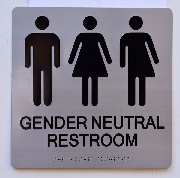 GENDER NEUTRAL UNISEX RESTROOM ADA SIGNS - SILVER