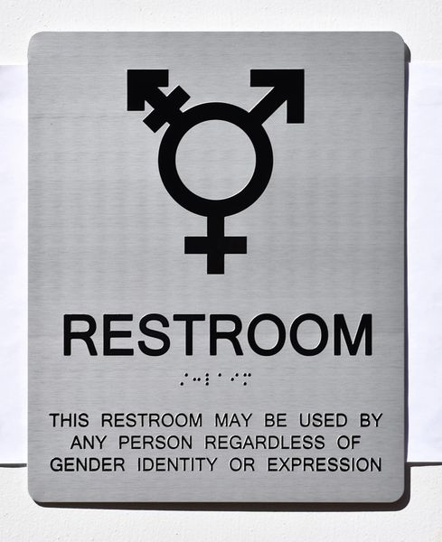 UNISEX ALL GENDER RESTROOM ADA SIGNS - SILVER