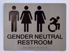 GENDER NEUTRAL UNISEX ACCESSIBLE RESTROOM SIGN - SILVER