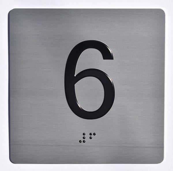 ELEVATOR JAMB- 6 - SILVER (ALUMINUM SIGNS 4X4)