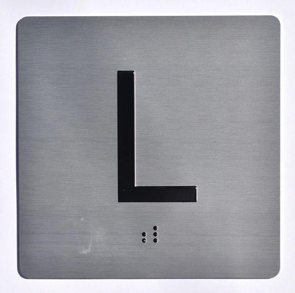 ELEVATOR JAMB- L - SILVER (ALUMINUM SIGNS 4X4)
