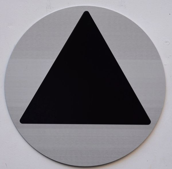 GENDER NEUTRAL RESTROOM SYMBOL SIGN (12 Inch DIAMETER) - SILVER