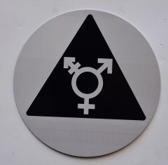 UNISEX ALL GENDER INCLUSIVE SYMBOL SIGN (12 Inch DIAMETER) - SILVER