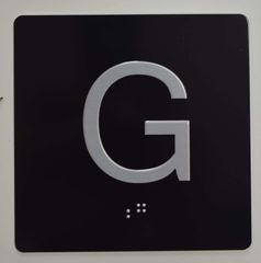 ELEVATOR JAMB- G - BLACK (ALUMINUM SIGNS 4X4)- BRAILLE - The Sensation Line