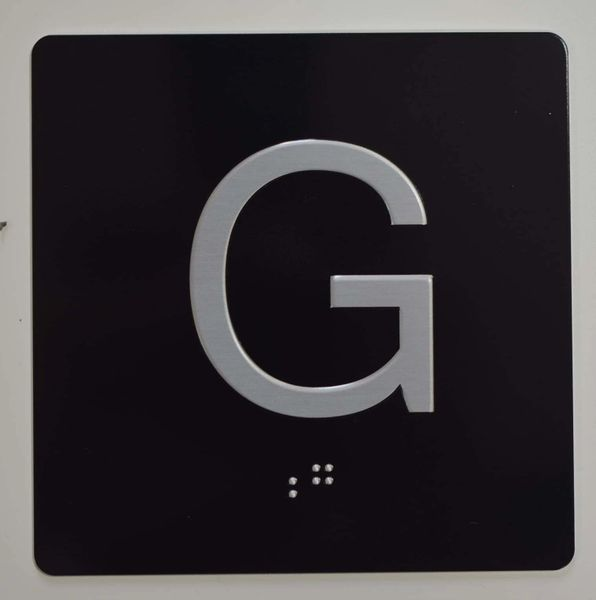 ELEVATOR JAMB- G - BLACK (ALUMINUM SIGNS 4X4)- BRAILLE - The Sensation Line