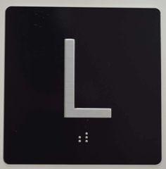 ELEVATOR JAMB- L - BLACK (ALUMINUM SIGNS 4X4)- BRAILLE - The Sensation Line