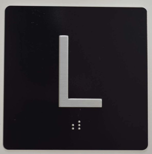 ELEVATOR JAMB- L - BLACK (ALUMINUM SIGNS 4X4)- BRAILLE - The Sensation Line