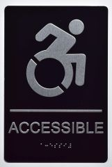 ACCESSIBLE SIGN - BLACK- BRAILLE (ALUMINUM SIGNS 9X6)- The Sensation Line