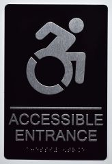 Accessible Entrance Directional Sign- BLACK