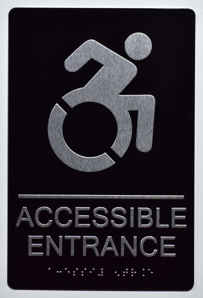 Accessible Entrance Directional Sign- BLACK- BRAILLE (ALUMINUM SIGNS 9X6)- The Sensation Line