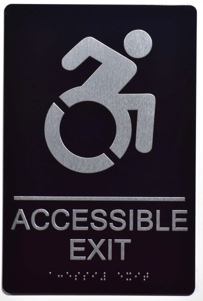 ACCESSIBLE EXIT Sign- BLACK- BRAILLE (ALUMINUM SIGNS 9X6)- The Sensation Line