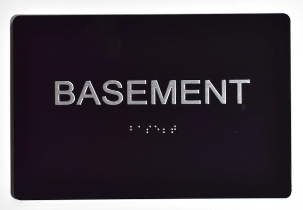 BASEMENT SIGN - BLACK- BRAILLE (ALUMINUM SIGNS 5X7)- The Sensation Line