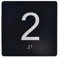 ELEVATOR JAMB- 2 - BLACK (ALUMINUM SIGNS 4X4)- BRAILLE- The Sensation Line