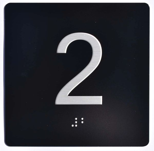 ELEVATOR JAMB- 2 - BLACK (ALUMINUM SIGNS 4X4)- BRAILLE- The Sensation Line
