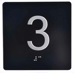 ELEVATOR JAMB- 3 - BLACK (ALUMINUM SIGNS 4X4)- BRAILLE- The Sensation Line