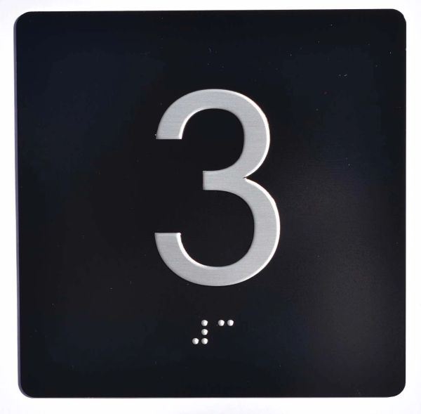 ELEVATOR JAMB- 3 - BLACK (ALUMINUM SIGNS 4X4)- BRAILLE- The Sensation Line