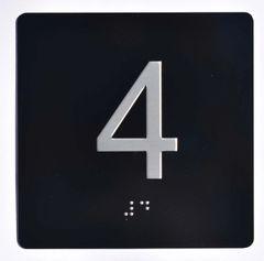 ELEVATOR JAMB- 4 - BLACK (ALUMINUM SIGNS 4X4)- BRAILLE- The Sensation Line
