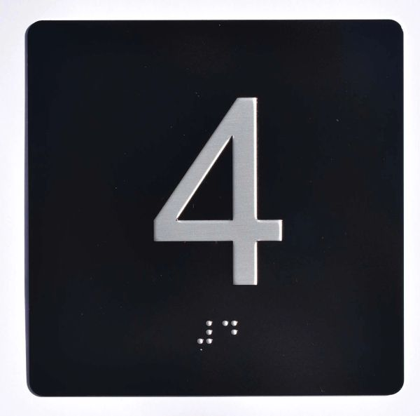 ELEVATOR JAMB- 4 - BLACK (ALUMINUM SIGNS 4X4)- BRAILLE- The Sensation Line