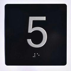 ELEVATOR JAMB- 5 - BLACK (ALUMINUM SIGNS 4X4)- BRAILLE- The Sensation Line