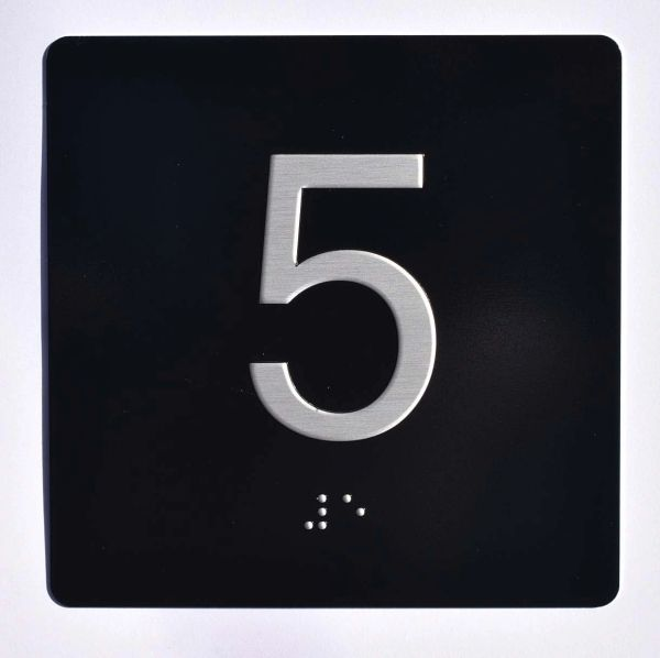 ELEVATOR JAMB- 5 - BLACK (ALUMINUM SIGNS 4X4)- BRAILLE- The Sensation Line