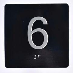 ELEVATOR JAMB- 6 - BLACK (ALUMINUM SIGNS 4X4)- BRAILLE- The Sensation Line