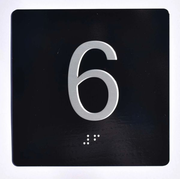 ELEVATOR JAMB- 6 - BLACK (ALUMINUM SIGNS 4X4)- BRAILLE- The Sensation Line