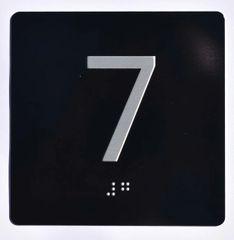 ELEVATOR JAMB- 7 - BLACK (ALUMINUM SIGNS 4X4)- BRAILLE- The Sensation Line