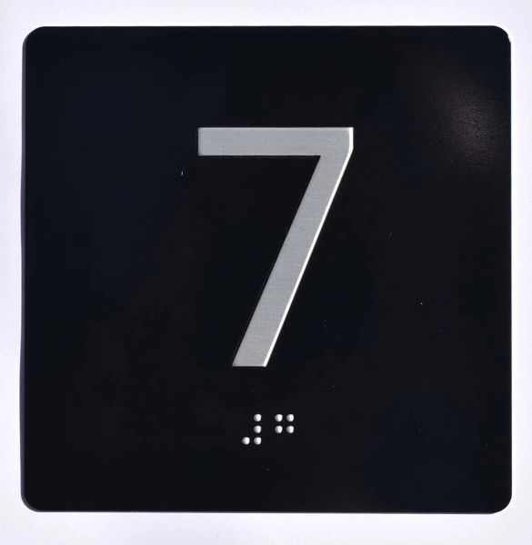 ELEVATOR JAMB- 7 - BLACK (ALUMINUM SIGNS 4X4)- BRAILLE- The Sensation Line