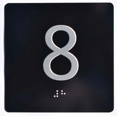 ELEVATOR JAMB- 8 - BLACK (ALUMINUM SIGNS 4X4)- BRAILLE- The Sensation Line