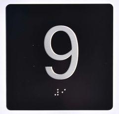 ELEVATOR JAMB- 9 - BLACK (ALUMINUM SIGNS 4X4)- BRAILLE- The Sensation Line