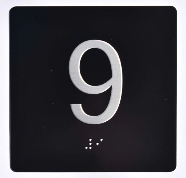 ELEVATOR JAMB- 9 - BLACK (ALUMINUM SIGNS 4X4)- BRAILLE- The Sensation Line
