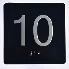 ELEVATOR JAMB- 10 - BLACK (ALUMINUM SIGNS 4X4)- BRAILLE- The Sensation Line