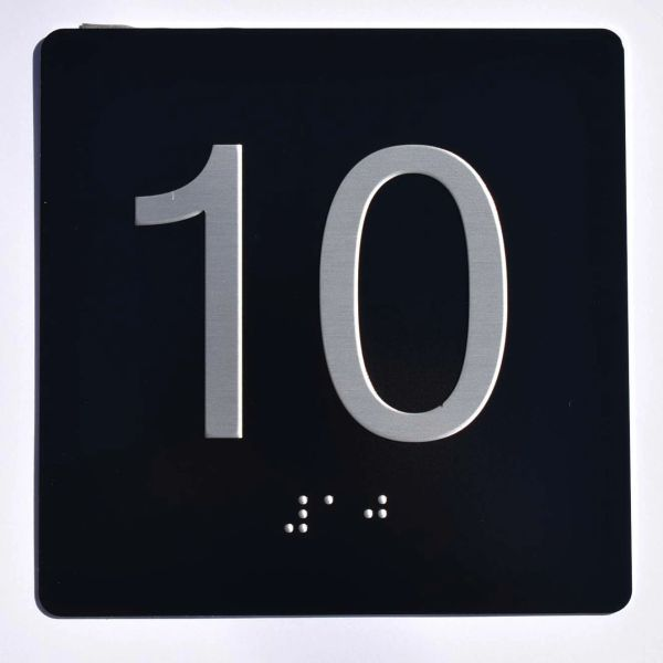 ELEVATOR JAMB- 10 - BLACK (ALUMINUM SIGNS 4X4)- BRAILLE- The Sensation Line