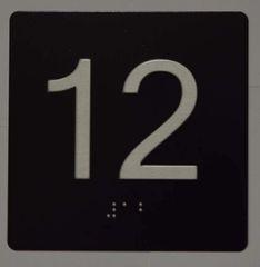 ELEVATOR JAMB- 12 - BLACK (ALUMINUM SIGNS 4X4)- BRAILLE- The Sensation Line