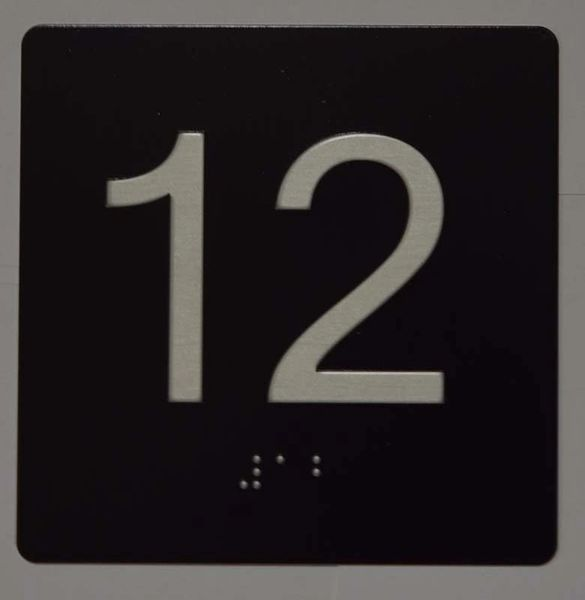 ELEVATOR JAMB- 12 - BLACK (ALUMINUM SIGNS 4X4)- BRAILLE- The Sensation Line