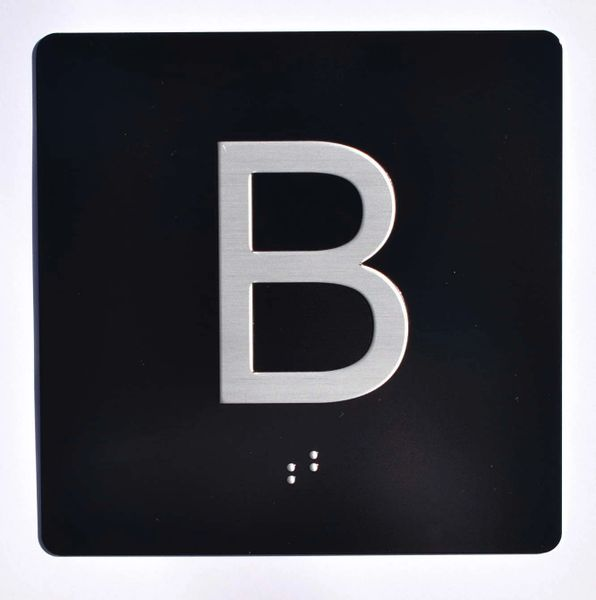 ELEVATOR JAMB- B - BLACK (ALUMINUM SIGNS 4X4)- BRAILLE- The Sensation Line