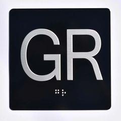 ELEVATOR JAMB- GR - BLACK (ALUMINUM SIGNS 4X4)- BRAILLE- The Sensation Line