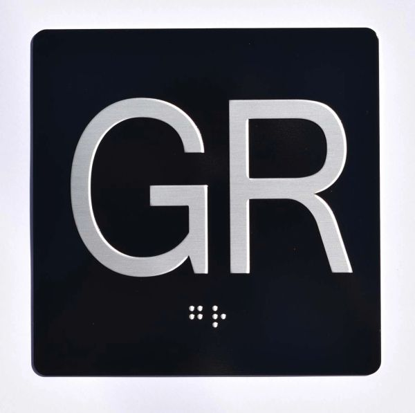 ELEVATOR JAMB- GR - BLACK (ALUMINUM SIGNS 4X4)- BRAILLE- The Sensation Line