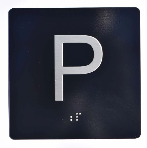 ELEVATOR JAMB- P - BLACK (ALUMINUM SIGNS 4X4)- BRAILLE- The Sensation Line