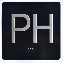 ELEVATOR JAMB- PH - BLACK (ALUMINUM SIGNS 4X4)- BRAILLE- The Sensation Line