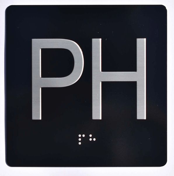 ELEVATOR JAMB- PH - BLACK (ALUMINUM SIGNS 4X4)- BRAILLE- The Sensation Line