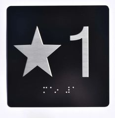 ELEVATOR JAMB- STAR 1 - BLACK (ALUMINUM SIGNS 4X4)- BRAILLE- The Sensation Line